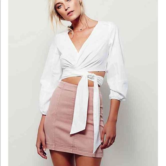 Free people modern femme denim mini in blush